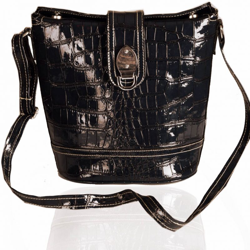 Black Crocodile Bucket Bag
